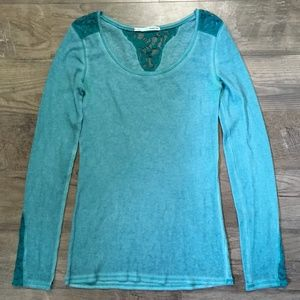 Maurices Shirt Thermal Waffle Knit Green Lace Sz M